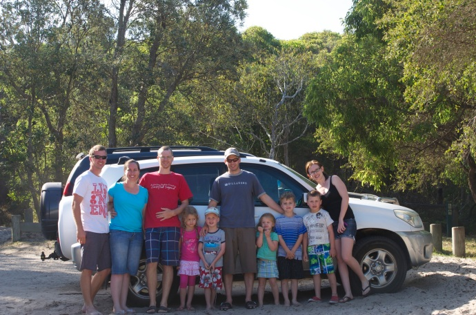 Group photo (credits to James) at Freshwater Campground - Rainbow Beach where we stopped for a very late lunch!