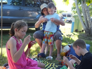 Grammy's craft corner under the shady tree