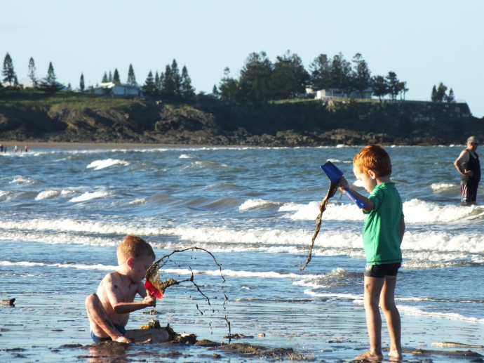 the kids would spend hours digging on the beach