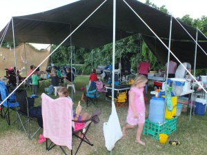 Camp Central - we had a big communal tarp set up for cooking & eating together - tents all around the outside of it