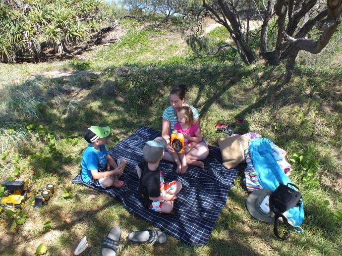We found a nice shady spot in the dunes for a picnic