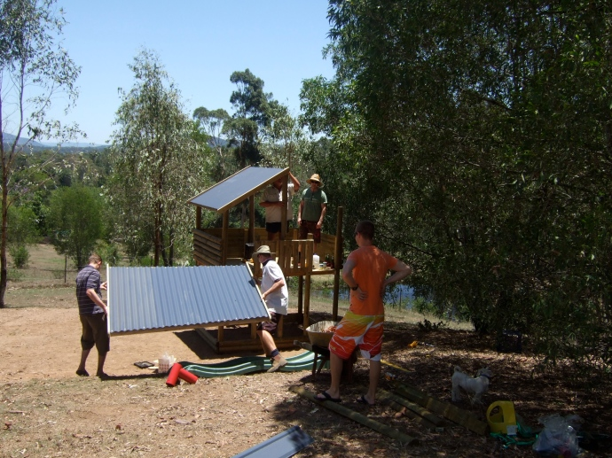 Dad, Matt's brothers and Luke from next door helped build the kids fort