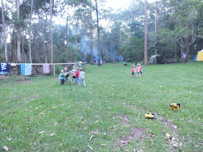 Campground footy game with the kids from the neighbouring campsite