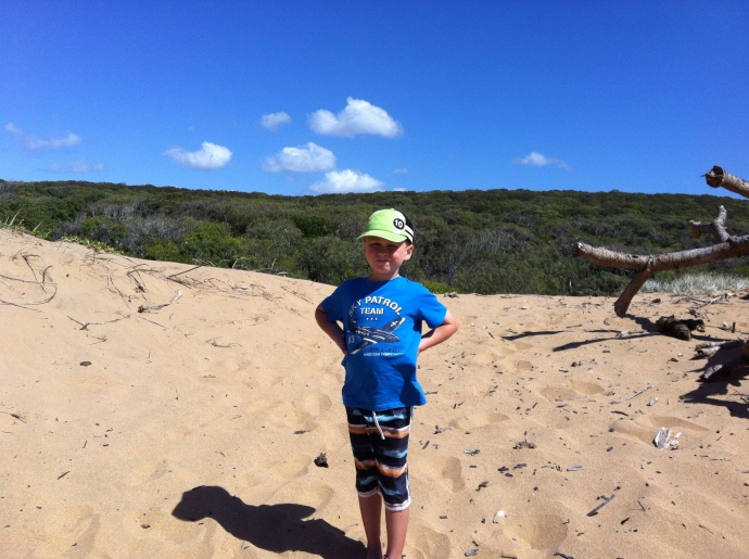 On the beach in front of Middle Rock camping area - bush camping only - no facilities