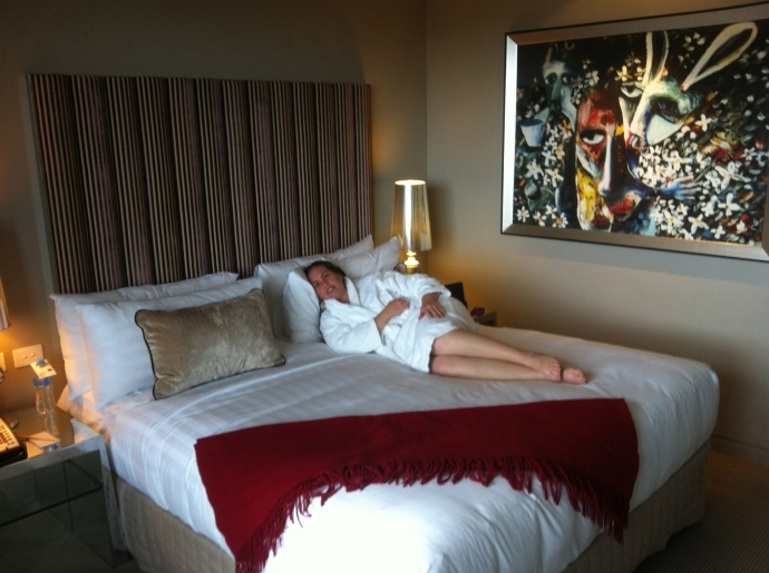I'm a sucker for the hotel beds and bathrobes!