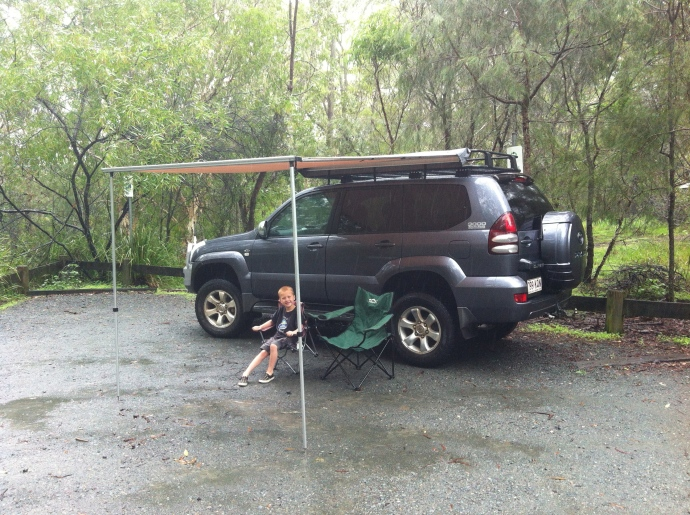 Tobes & Matt tested the new awning out after dropping Jack off at Scout camp.