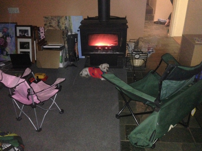 Camping out in the lounge room - enjoying the last days with our fireplace!