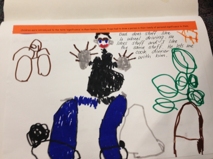 'Prep's had to draw a picture of a person of personal significance to them in their family'
