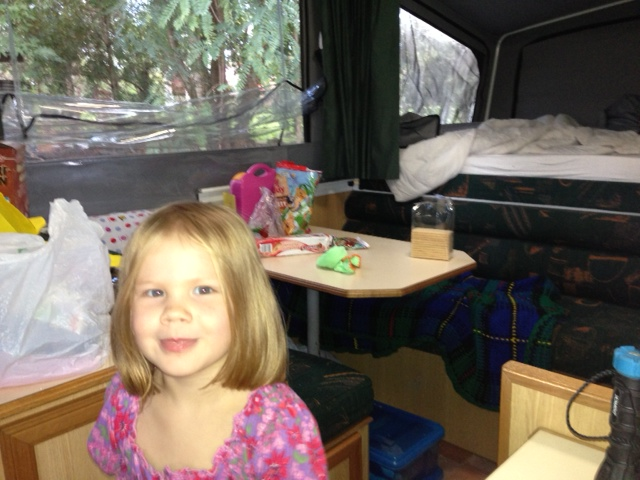 The birthday girl in the camper - yes I did let her eat half a packet of cruskits for lunch because I could not get into the cupboard to organise anything else - no judging!!