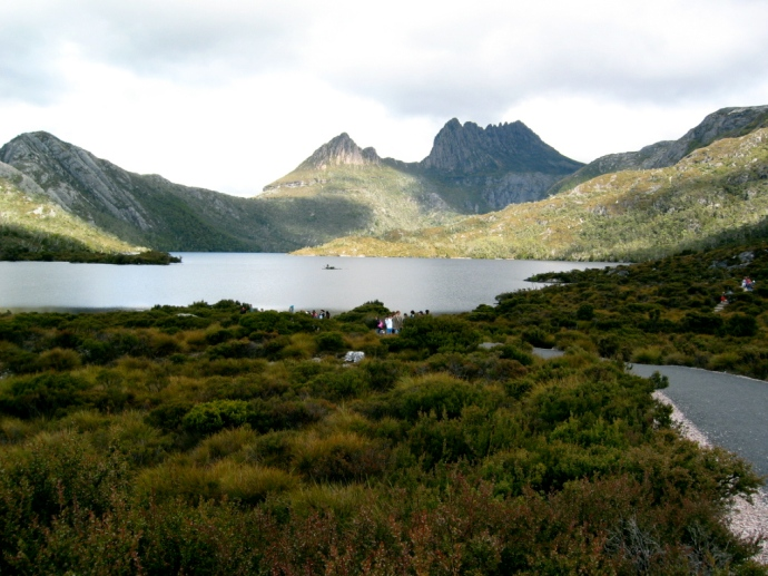 First glimpse of Cradle Mountain!