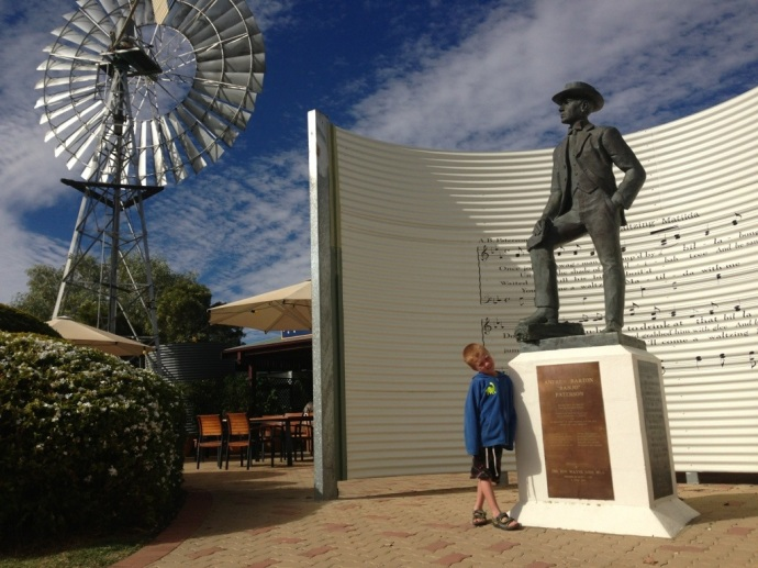 Tobes checking out 'Banjo Patterson' in front of the Waltzing Matilda Centre in Winton