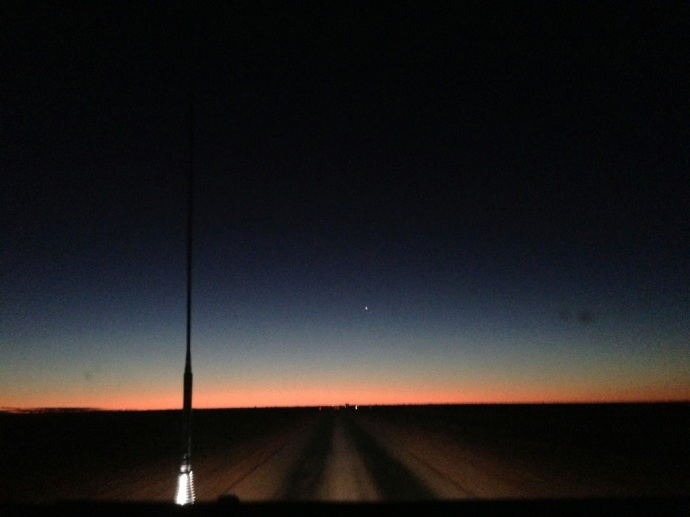 Beautiful sunset as we were driving in to Boulia