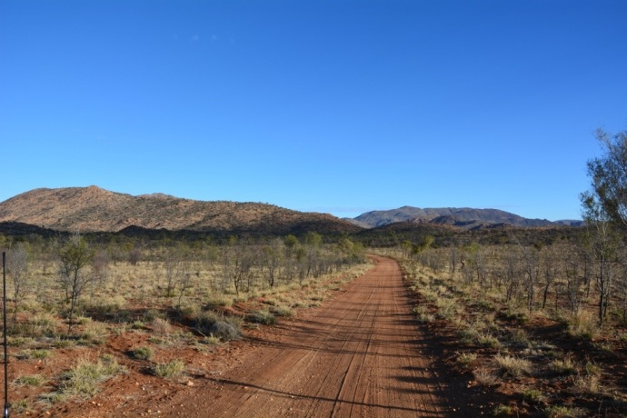 Very corrugated road in to Tiger Gum camp at Harts Range
