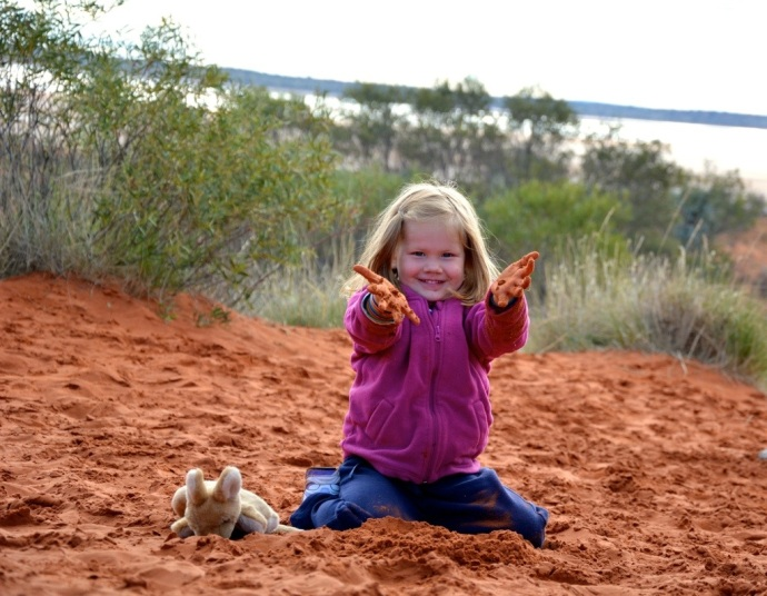Lex loved the red sand - her 'Kanga' is going everywhere with her - thank you Keria