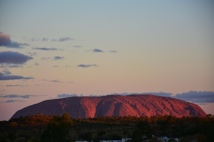 First sunset over Uluru from the campground