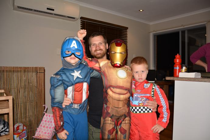 Spoilt nephews with their costumes bought for them in London by Uncle Jimbo!