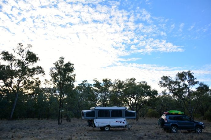 Our bush camp off the highway in the middle of nowhere!  Nice and quiet but a little scary - I will have to get used to that!