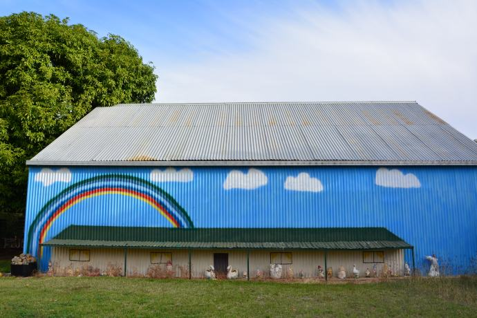 Rainbow wall in Isisford which Lex loves!
