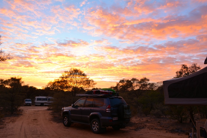 Sunrise at rest stop free camp about 20kms from Longreach