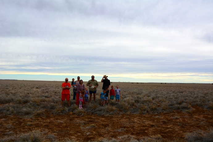Trying to get a photo of us all in the wide open space - very difficult to capture!