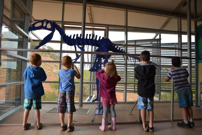 The kids liked the mechanical dinosaur