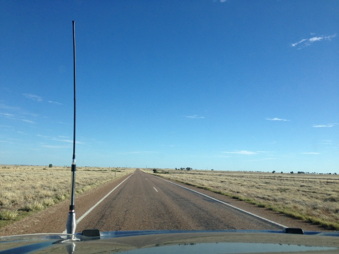 On the road to Winton - very flat, dry and dusty