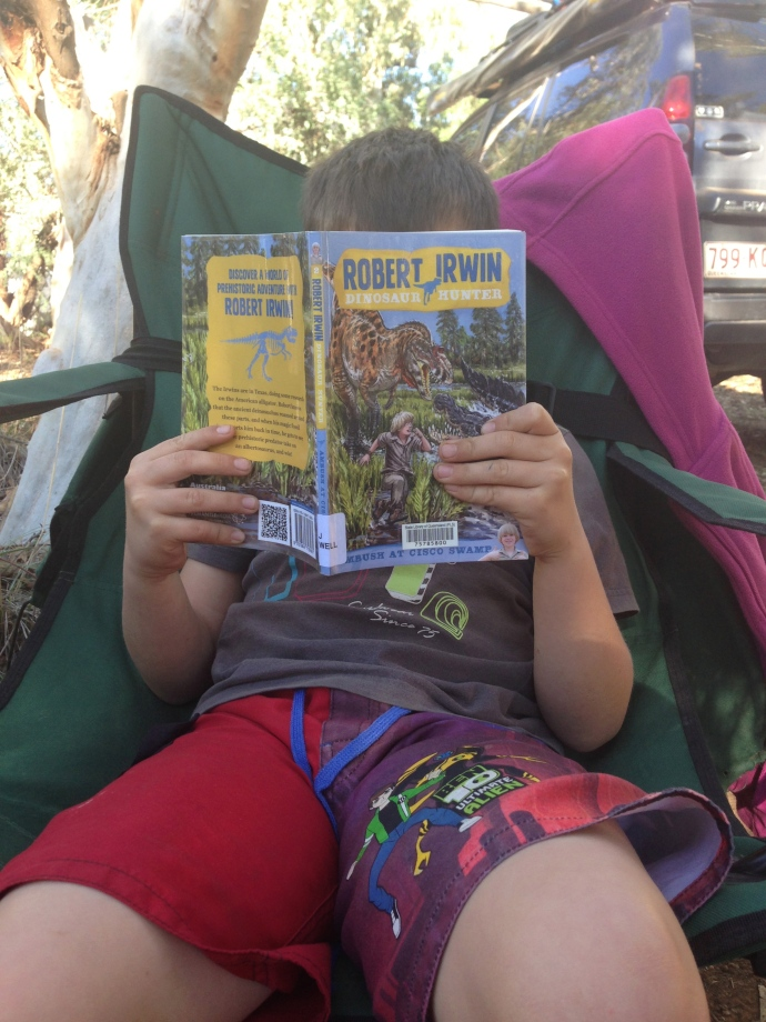 Jack loved reading about the dinosaurs in Winton after we had just seen them!!!