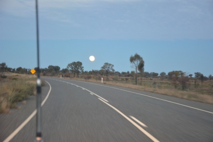 'Super Moon' on the drive back to our campground at Yulara - very hard to capture!