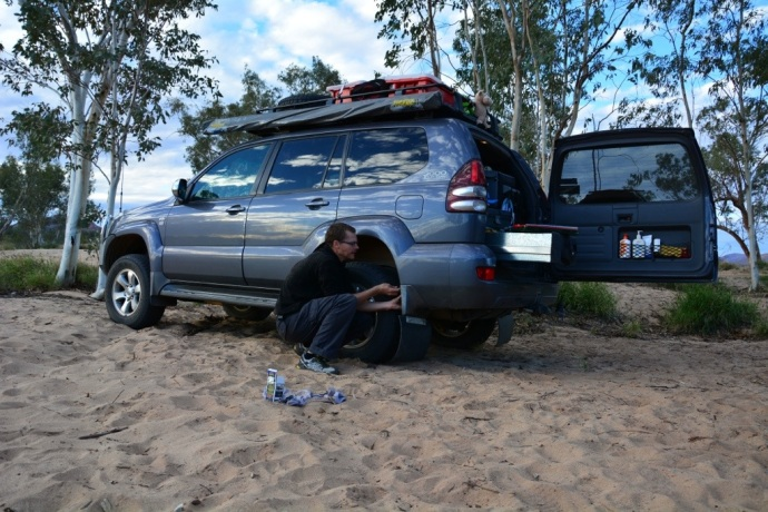 Matt repairing the mudflap again