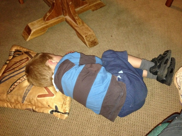 Tobes just got tuckered out - so we put him on the floor with a pillow from one of the lounges and he was happy!