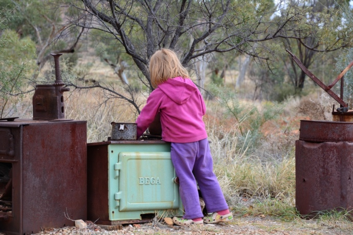 Lex playing 'kitchens' with some of the old kitchen stuff at the Visitor Centre
