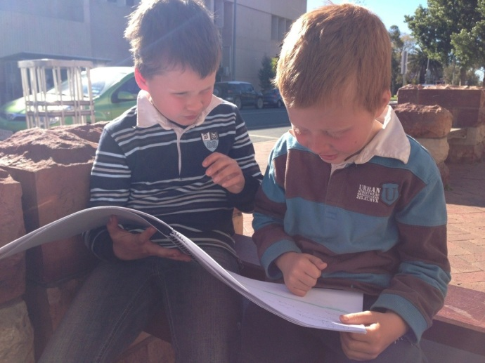 Jack helping Toby read his letters from his class!