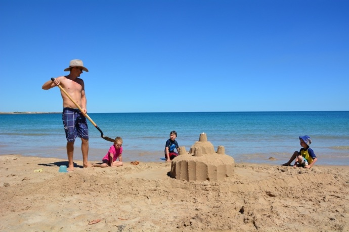 Epic sandcastle Matt & the kids built at Middle Lagoon
