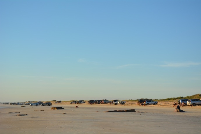 The car park that is Cable Beach at sunset!