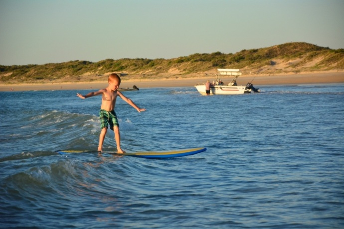 Toby's first go at surfing and he managed to stand up first go - it was a fantastic surfboard for kids - thanks Marika!!