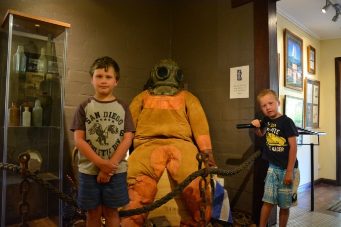 The boys with the old pearl diving suit