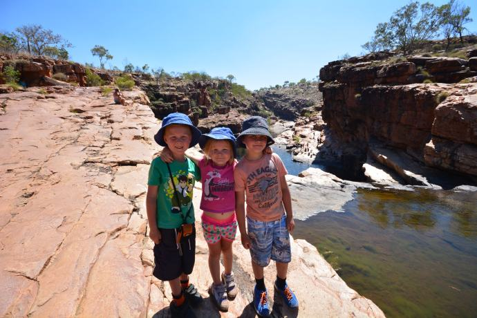 Jack, Tobes and Lex at the top of Bell Gorge
