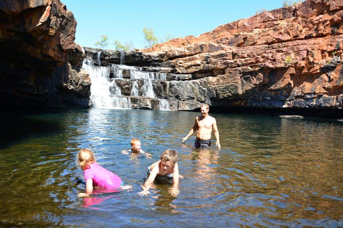 Having a swim in the freezing water at Bell Gorge