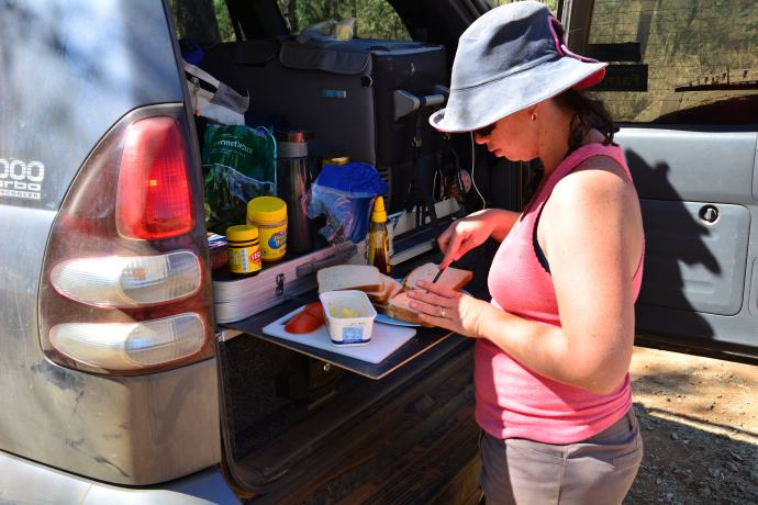 Back of the car lunch preparation