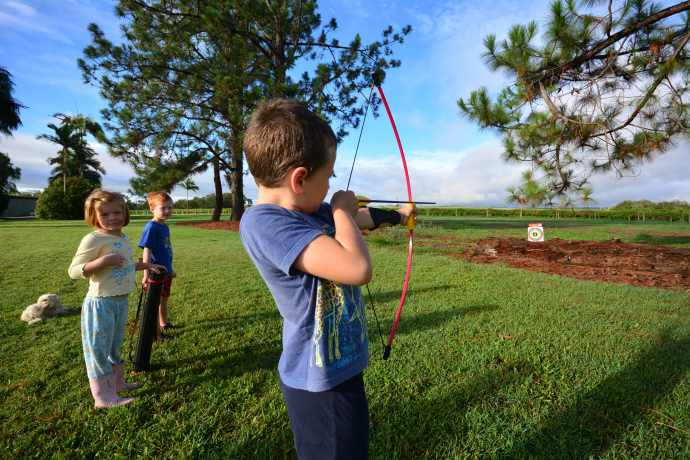 An archery set for his 8th birthday!