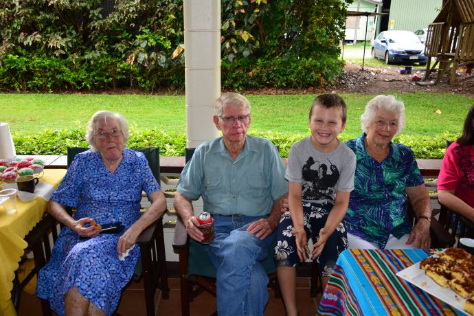Jack with his three great grandparents - a lucky kid to have them here to celebrate with him!