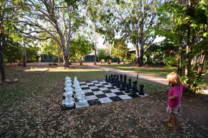 Cool giant chess set on the grounds at Home Valley Station