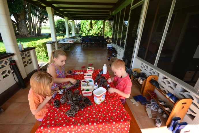 On Dec 1, we got a kick start to our Chrissy spirit with some pine cone decorating
