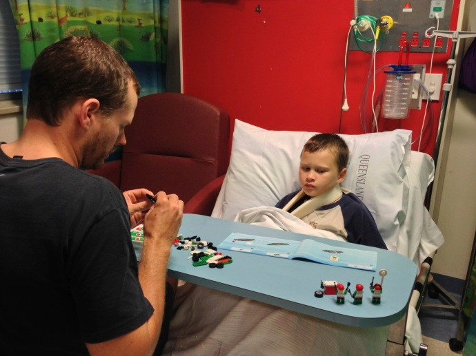 Jack & Matt Christmas night playing with Jack's lego kit that was delivered by a Santa in hospital