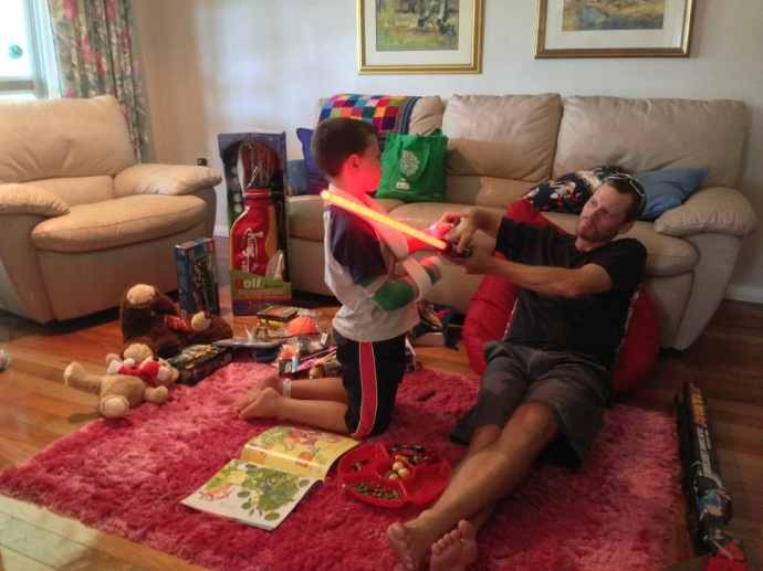 Matt thought it was awesome that he could play with all Jack's presents without a fight!