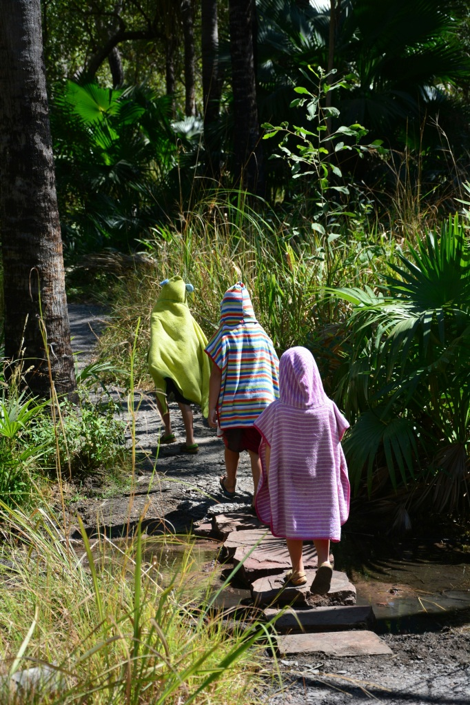 Our three little ewoks walking back to the car from Zebedee Springs
