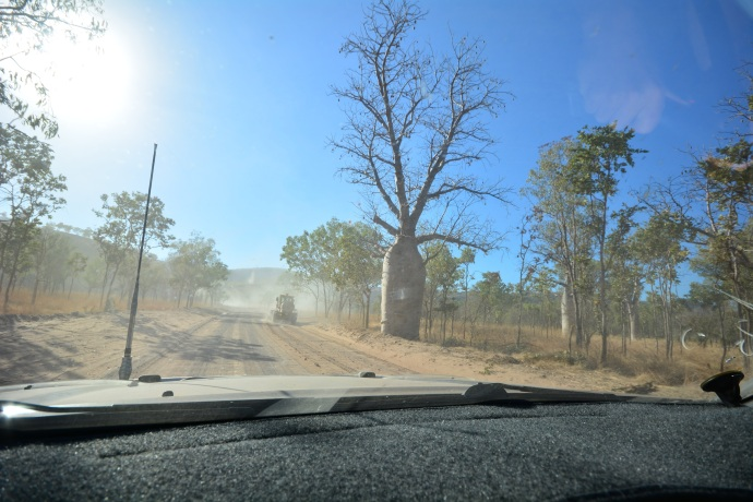 Following the grader out of El Questro Station - very dusty!