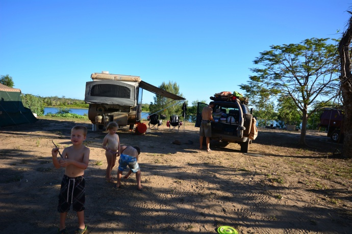 Our setup on the bank of the MacArthur River, King Ash Bay