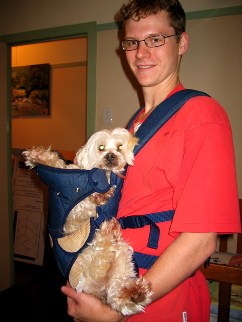 Our first baby, Jerry, road testing the baby carrier before Jack was born!