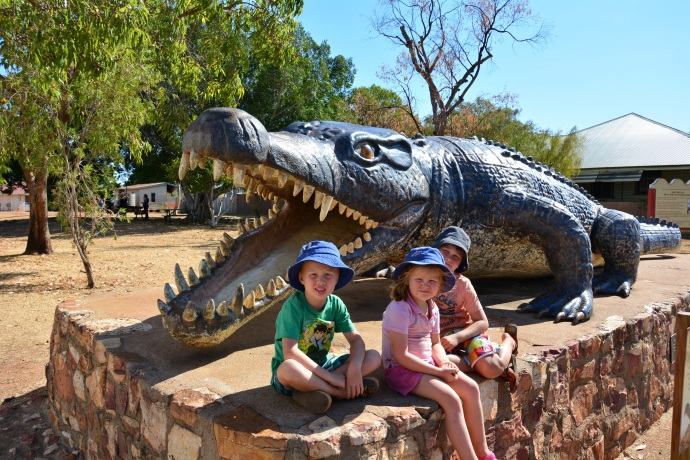The kids with 'Krys' the croc in Normanton